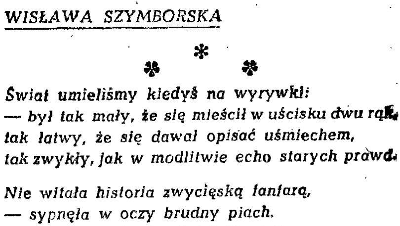 Tylko U Nas Wiersz Wisławy Szymborskiej Z Czarnej Piosenki
